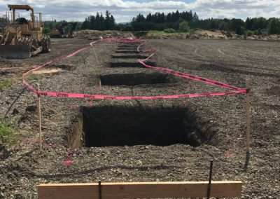 Footing holes for large arena
